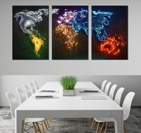 Cheap Abstract Especial World Map,3Panels Set HD Canvas Printed Painting Artwork Decorative Dainting Printed Arts Unframed Wall Art Pictures