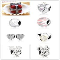 Wholesale New Style Sterling Silver Diamonds Charm Bead For Pan dora Bracelet European Bead Bracelet Accessories Heart shaped Clover Fashionable