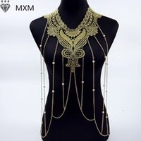 Wholesale Gold Body Chain Necklace Lace Flower Collares Sexy Body Chains Women Lace Necklace Elegant Party Jewelry