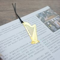 Wholesale New Cute Music Kawaii Gold Metal Bookmarks Piano Guitar Trumpet Designs Bookmarks Korean Stationery Gifts