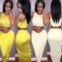 Wholesale Sexy Draped Two Piece Sleeveless Club Bodycon Dresses for Women Ruched Skirt Night Out Stretch Dress