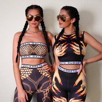 Wholesale 2016 womens sexy print crop top tracksuits yoga tight fit clothes fashion sports tracksuit female sport sets on sale