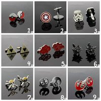 Wholesale Retro Adult Cuff Links Cartoon One Piece Star Wars Captain America Naruto Shirt Tie Clasps Cufflinks Tacks Jewelry Gift CCA4754