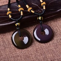 Wholesale 100 Natural Ice Kinds Rainbow Eye Obsidian Natural Obsidian Peace Buckle Pendant Men and Women Lucky Blessing Amulet Necklace