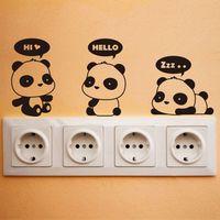Wholesale 3 funny pandas switch stickers cartoon wall decoration diy vinyl adesivo de parede home decal mual art poster