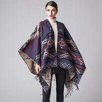 Wholesale Women s Winter Fashion Pashmina Cashmere Outwear Warm Shawl Wraps Blanket Scarf Stole Poncho Capes Cloak Cardigans Bohemina Coat Jacket