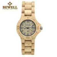 Wholesale BEWELL Top Brand Luxury Ladies Watches Quartz Wooden Watches Casual Women Wood Wristwatches Relogio Feminino AL