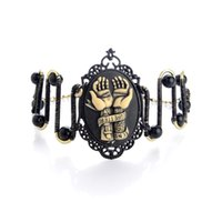 beads photo frames - Pirate Style Cameo Bracelet Adjustable Photo Frame Steampunk Bangle Resin Jewelry Black Pearl Party Bracelets for Women Anniversary Gifts