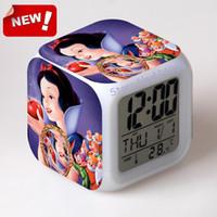 antique horse clocks - Snow White Alarm Clock Led Light Color Change Horse Desk Saat Relogio De Mesa Car Square Digital Watch Klokken