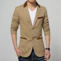 Wholesale Mens Blazer jacket cotton coat two button slim fit casual fashion overcoat M XL color New blaser masculino bleiser hombre
