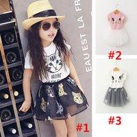 pettiskirt set - Cute Girls Cartoon Lace Tutu Pettiskirt Sets Cat Top T shirt Skirt Baby Toddler Infant Summer Short School Suit Children Outfits GZ B01
