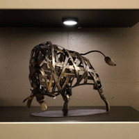 handmade craft - TOOARTS Metal Sculpture Iron Braided Cattle Home Furnishing Articles Handmade Crafts A001