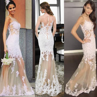 sexy lady nude - Arabic Evening Gowns Dresses White Lace Appliques Illusion Long Prom Dress Mermaid Tulle Sexy Special Occasions Gown For Ladies