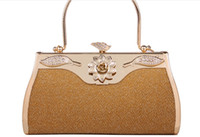 applique clutch - New style Grain Leather hard shell Purse Clutches bridal Wedding party clutch bag with handal women wedding dress bag Priness Bag