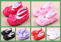 Wholesale baby shoes Baby soft bottom shoes roses princess shoes Toddler shoes year mix color pairs