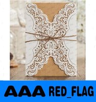 Wholesale Laser Cut Flower Wedding Invitation Cards Personalized Gold Hollow Wedding Party Printable Rope Bow Cards with Envelope Sealed Card LLFA99