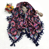 animal print ring - Hot selling floral geometric printing women square cotton scarf wraps with four sides tassels colors size x110cm