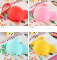 Wholesale New Cute Coin Purses cartoon candy color Wallets baseball cap coin bag mini hat key silicone female change hand bag free