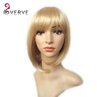 Wholesale Blonde Short Wig Women s Cute Straight Bob Cosplay Wig Heat Resistant Hair dark Blonde cheap Short Wigs verve synthetic wigs