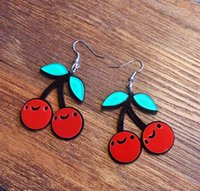 asian cute - Korean Fashion Jewelry Accessories Personality Cute Acrylic Red Cherry Dangle Earrings For Women