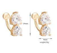 Wholesale Stainless Steel Body Piercing Jewelry Navel Belly Ring Rhinestone Heart Flower Star Belly Button Ring