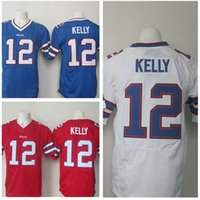 bb good - 2016 Newest Men s BB Jim kelly White Blue Red Football Jerseys Good Quality