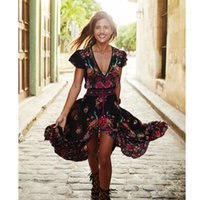 Wholesale 2016 Brand New Women Retro Dresses Court Style Printing V neck Dresses PC CW04794