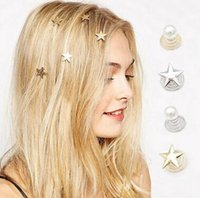 Wholesale The new five pointed star Korean fashion pearl hairpin helical spring chuck hair decoration hair accessories in Europe and America