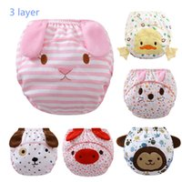 cartoon baby knickers - 3 Layer Baby Waterproof cotton Training Pants Infant Learning Pant Bread Pants knickers Cattle PP pants underpants c0033