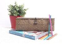 Wholesale The straw box office desktop storage box storage basket weaving grass grass weaving crafts