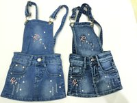 beaded jeans skirts - 2016 New Girls Clothes Skirts Denim Overalls Dresses Flower Embroidered Destroyed Denim Children Hot Drilling Jeans