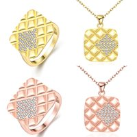 Wholesale Starry Skys Ring Necklace Sets Cubic Style Plaid Pattern Diamond Stars Jewelry Rose Gold Gold Jewelry