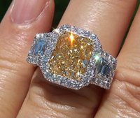 3 ct diamond ring - 4 Ct Canary Cushion Cut Diamond Halo Stone Engagement Ring SI2 GIA Platinum