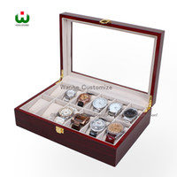Wood big red storage - Today s Deal Big Discount in DHgate Supply Grids Wood Watch Display Jewelry Case Box Storage Holder Leather Glass Top Jewelry case