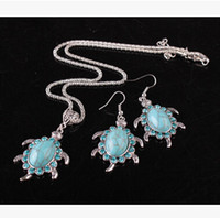 Wholesale European Restore Ancient Ways Green Turquoise Tortoise Necklace Earrings Suit
