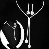 beaded bridal necklace - Bridal Jewelry Wedding Bridal Rhinestone Accessories Necklace and Earring Ear Stud Style Sets Silver Plated New Without Tags