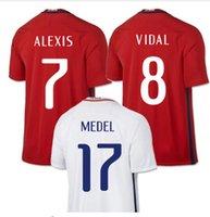 Wholesale 2016 Chile ALEXIS Soccer Jersey tailândia qualidade camisa de futebol de VALDIVIA MEDEL frete grátis