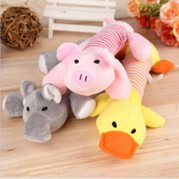 animal sounds pig - Sound Dog Toys High Quality Soft Plush Pet Cartoon Toys Cute Animals Puppy Toys Chew Squeak Toy Duck Pig Elephant Cat Toys E