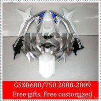Carenados para Suzuki GSX 2008 2009 GSX-R600-R750 K8 08 09 GSXR600 GSXR750 blanco de plata GSXR 600 GSXR 750 que compite con el carenado de los kits de inyección