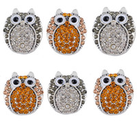 Wholesale Trendy Jewelry Mix Designs Lovely Owl Shape Crystal Noosa Snap Button Charm Rhinestone Styles Snap Button Gift K4L