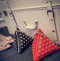 Wholesale 2016 Fashionable Rivets Holding The Triangle Bag Sweet Lady Bag Zipper Bag Kinds Of Fashion Color