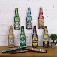 beer countries - American Country Creative Retro Beer Shaped Wall Bottle Opener Vintage Wall Mounted Wood Plaque Bottle Openers Cap Catcher Craft