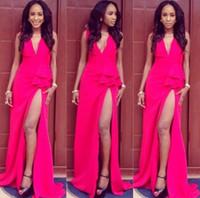 african art sale - 2016 Sale For African Split Formal Evening Dresses Deep V Neck Sweep Train Plus Size Prom Event Wears Vestidos de Festa Custom Made