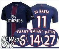 Wholesale 2017 Soccer Jersey uniform kits Zlatan Ibrahimovic Maillot Paris Home Shirts Di Maria Lucas Cavani T silva football shirts