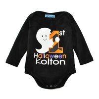 Wholesale Halloween Cotton Boys Girls Baby Rompers Long Sleeve Triangle Baby Onesies Newborn Clothing Jumpers Toddler Romper Infant Clothes