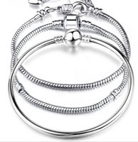 basic beads - Silver Plated Bracelet fit Women For Pandora Snake chain Basic Bracelets Bangles Charm Bead DIY Jewelry
