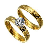 Wholesale New arrived lowest price carved k gold plate Titanium women and men s Rings AAA Zircon Couple Rings wedding rings wolesale