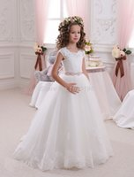 Wholesale White Girls Pageant Dresses Ball Gown Long Flower Girl Dresses For Weddings First Communion hot sale