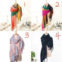 acrylic strips - Fashion Women Scarf Winter Autumn Warm Scarves Shawls Contrast Colors Scarf For Student Plaid Strips Girl Scarfs Twill Fabric