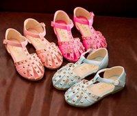Wholesale 2016 Summer Rivet Flat Sandal Shoes Banded Children Girls Clogs Sandals Shoes Pink Rose Blue Casual Kids Shoes B4076